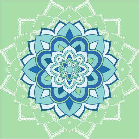 Mandala patterns on green background illustration