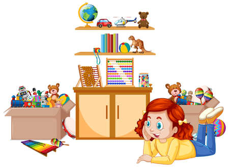 Scene with girl playing toys in the room illustration  イラスト・ベクター素材