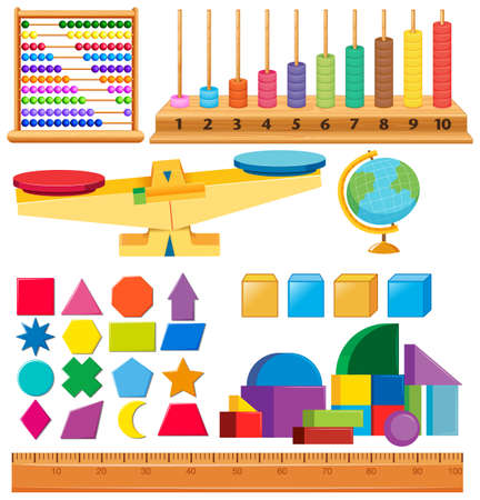 Set of geometry shapes and other school items illustration
