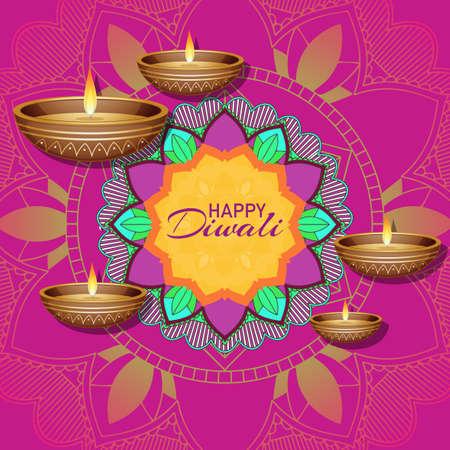 Background with mandala pantern for happy diwali festival illustration Ilustrace