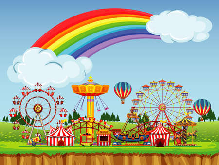 Circus scene with rainbow in the sky illustration Illustration