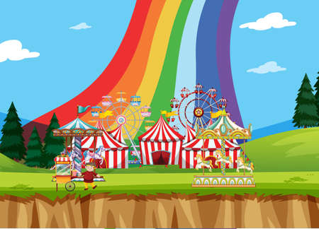 Circus scene with tents and many rides illustration