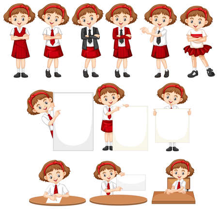 Set of girl in school uniform doing different things illustration