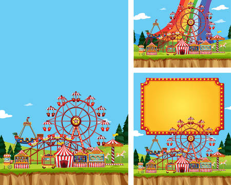 Three scenes of circus with many rides illustration