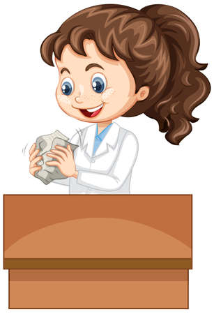Girl in science gown making paper ball on white background illustration