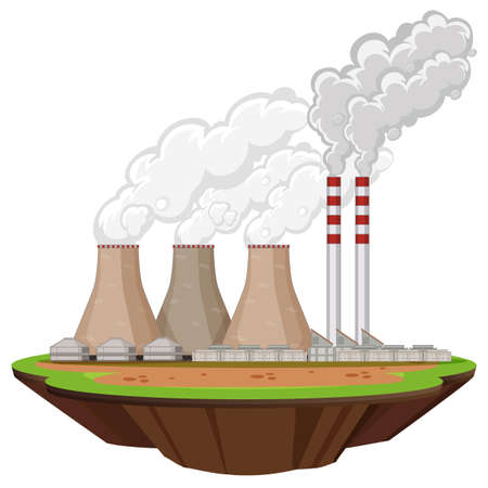 Scene with factory buildings producing smoke illustration