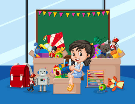 Scene with girl and many toys in the room illustration 일러스트