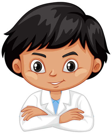 Boy in science gown on white background illustration Ilustracja