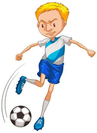 Athlete playing soccer on white background illustration  イラスト・ベクター素材