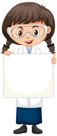 Girl in science gown with blank sign on white background illustration