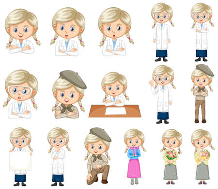 Set of cute girl doing different activities on white background illustration