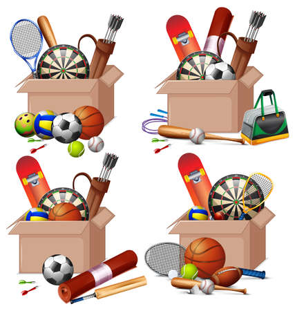Set of boxes full of sport equipments on white background illustration  イラスト・ベクター素材
