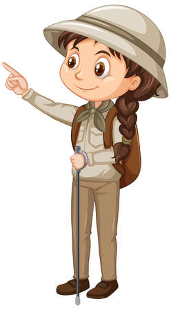 Girl in scout uniform on isolated background illustration