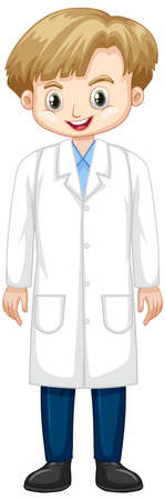 Cute boy in lab gown on white background illustration Illustration