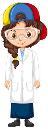 Girl in science gown on isolated background illustration
