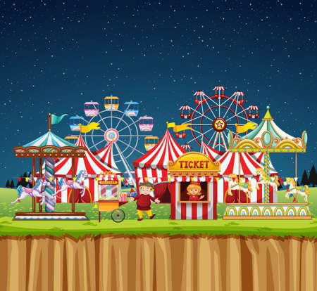 Circus scene with people at night time illustration