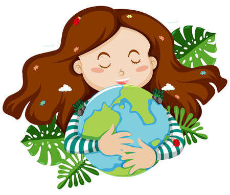Cute girl hugging blue earth with leaves in background illustration