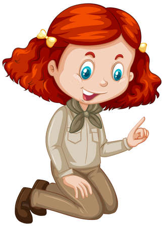Girl in brown uniform on white background illustration