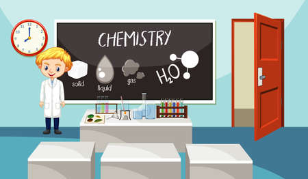 Classroom scene with science teacher standing  illustration