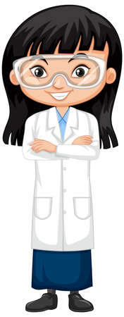 Cute girl in science gown on white background illustration