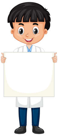 Boy in science gown holding sign on white background illustration
