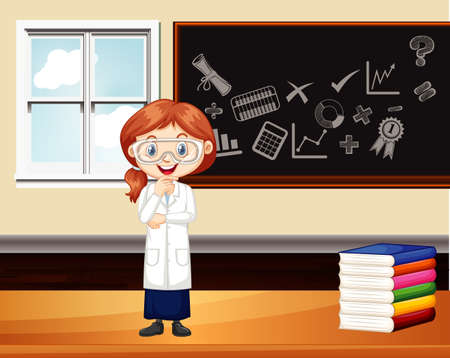 Classroom scene with science student by the board illustration