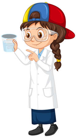 Girl with cup of water on white background illustration