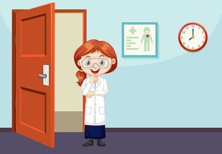 Classroom scene with science student standing illustration
