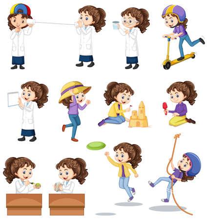 Set of girl doing different activities on white background illustration Illustration