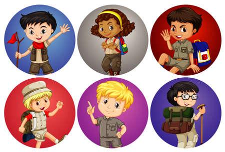 Six kids on different background illustration