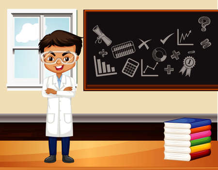 Scientist standing in front of the class illustration Illustration
