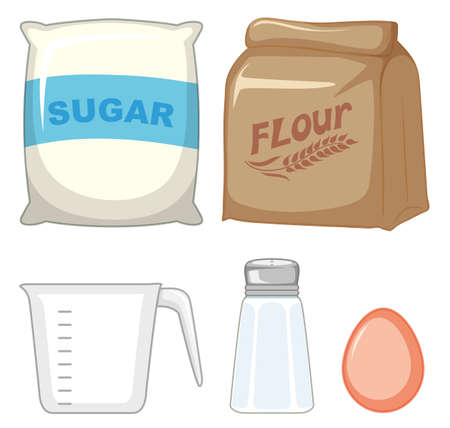 Set of bakery ingredients with sugar and flour illustration