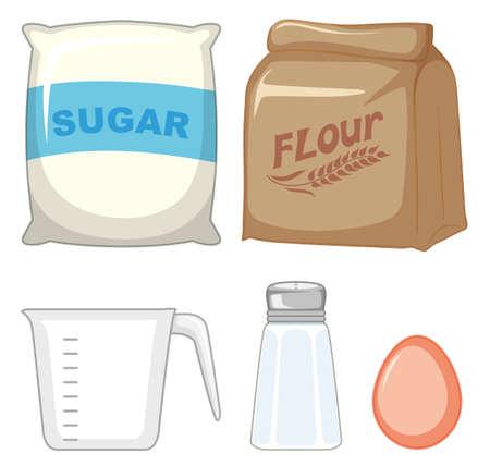 Set von Backzutaten mit Zucker- und Mehlillustration