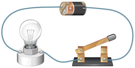 Diagram showing electric circuit with battery and lightbulb illustration