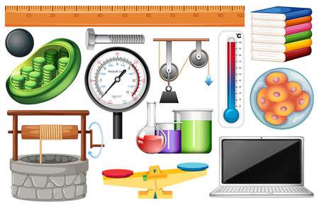 Large set of science equipments on white background illustration
