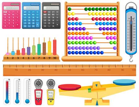 Large set of different measurement tools on white background illustration