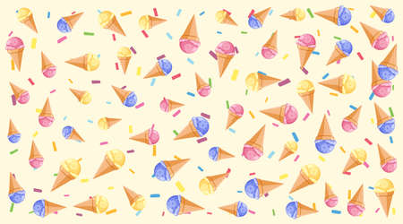 Seamless background pattern with many ice cream cones illustration