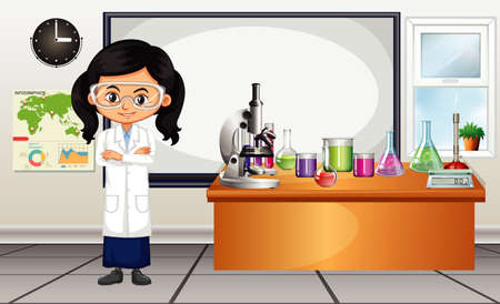 Female scientist standing in the lab illustration