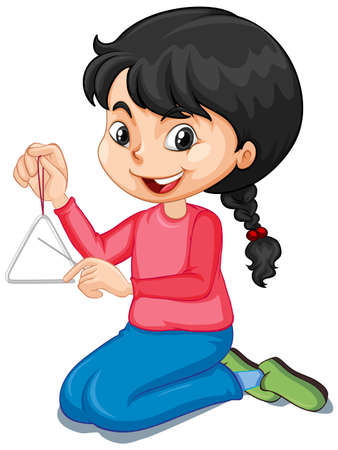 Girl playing triangle on isolated background illustration
