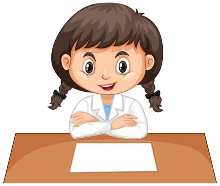 Girl in lab gown sitting on white background illustration Illustration
