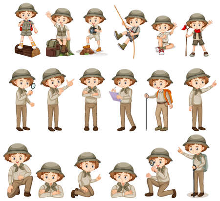 Set of girl in safari costume doing different activites illustration