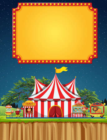 Circus scene with sign template in the sky illustration 向量圖像