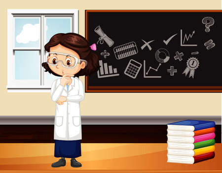 Classroom scene with science student standing by the board illustration