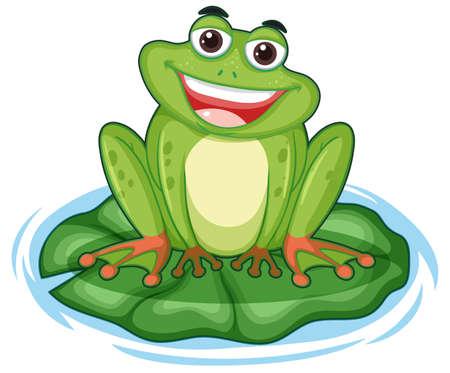 Happy frog with big smile sitting on the leaf illustration