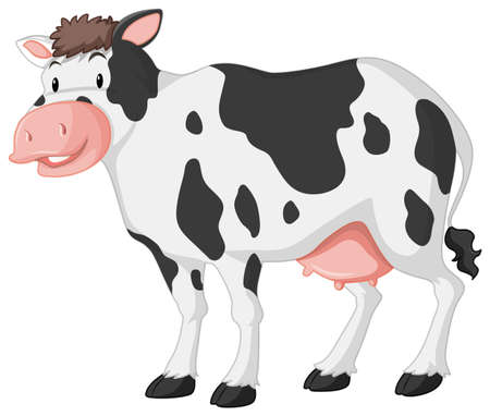 Cute cow with big smile on white background illustration