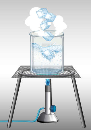 Science experiment with burning ice in the beaker illustration