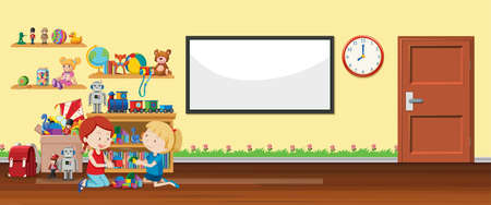 Background scene with whiteboard and toys illustration Ilustracja