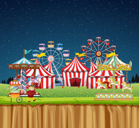 Circus scene with many rides at night time illustration Illustration