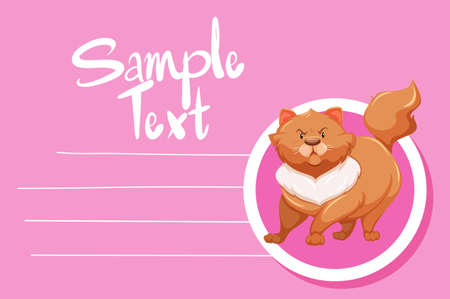 Card template with cute cat illustration