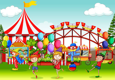 Scene with many children having fun in the circus fair illustration